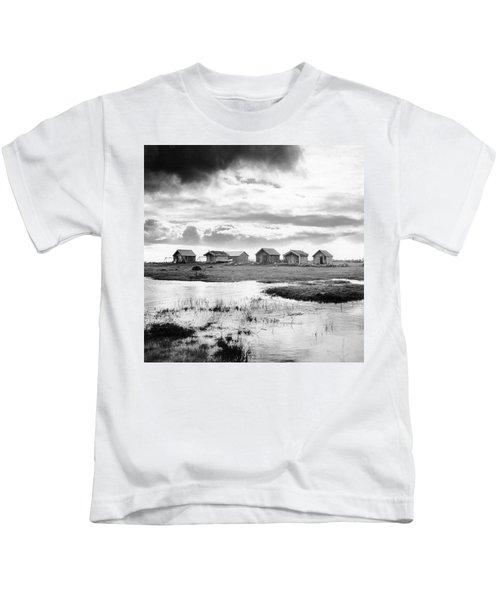 Boat Houses By The Shore In Kallahamn Harbor Kids T-Shirt