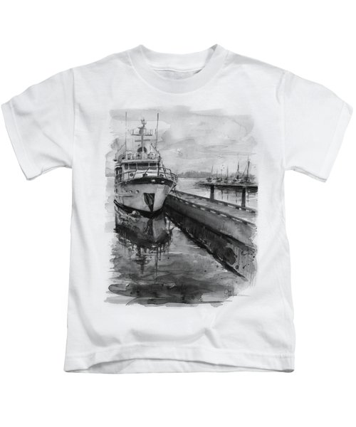 Boat On Waterfront Marina Kirkland Washington Kids T-Shirt