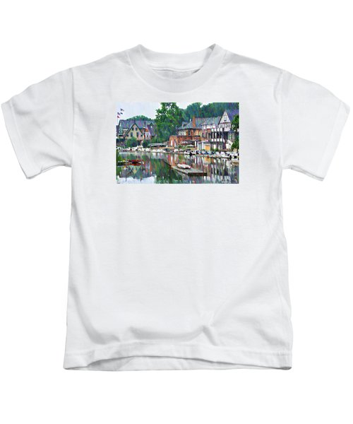 Boathouse Row In Philadelphia Kids T-Shirt