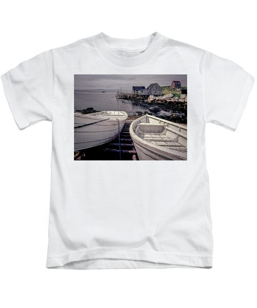 Boats Near Peggys Cove Kids T-Shirt