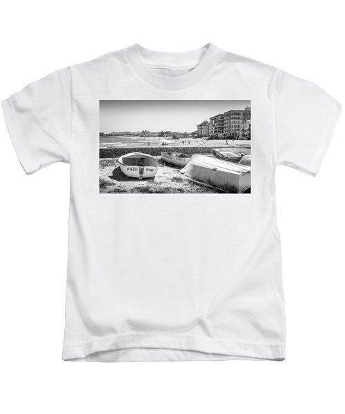 Boats On The Beach Kids T-Shirt