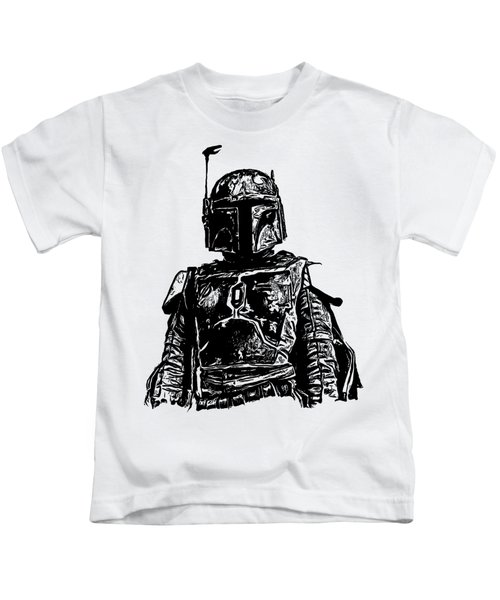 Kids T-Shirt featuring the digital art Boba Fett From The Star Wars Universe by Edward Fielding