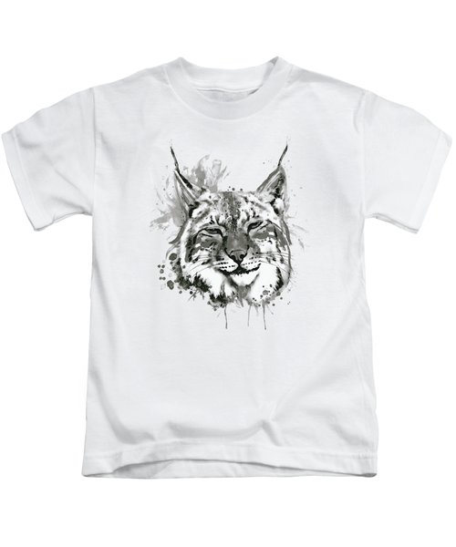 Bobcat Head Black And White Kids T-Shirt