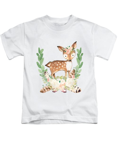 Boho Woodland Blush Dear With Feathers Kids T-Shirt