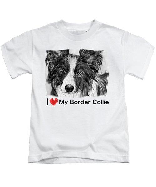 Border Collie Stare Kids T-Shirt