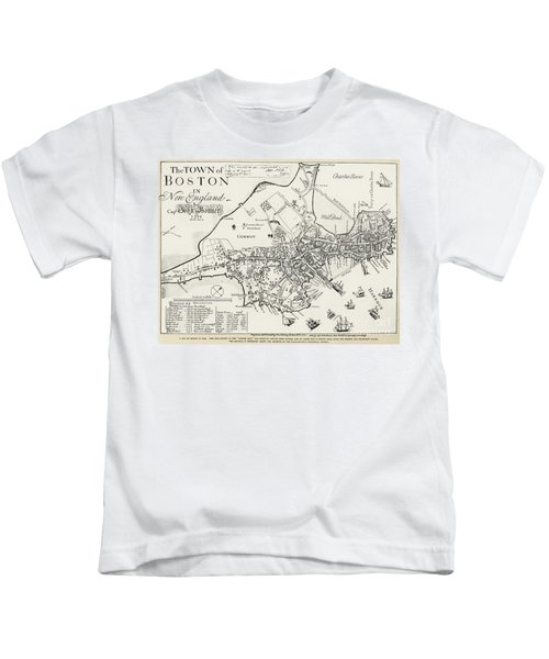 Boston Map, 1722 Kids T-Shirt