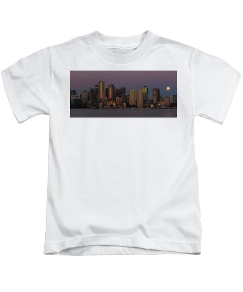 Boston Moonset And Sunrise Kids T-Shirt