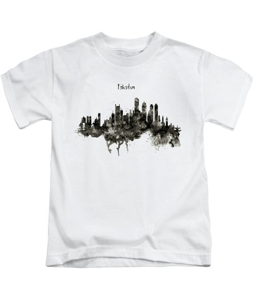 Boston Skyline Black And White Kids T-Shirt by Marian Voicu