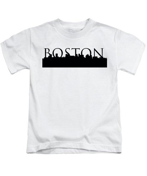Boston Skyline Outline With Logo Kids T-Shirt
