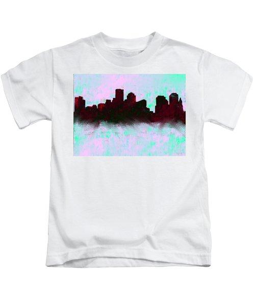 Boston Skyline Sky Blue  Kids T-Shirt by Enki Art