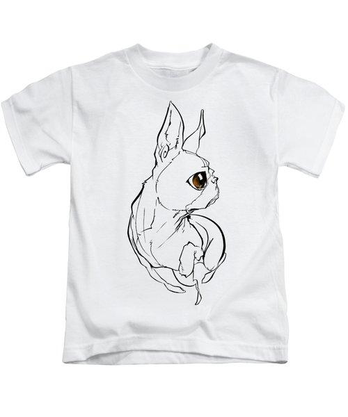 Boston Terrier Gesture Sketch Kids T-Shirt