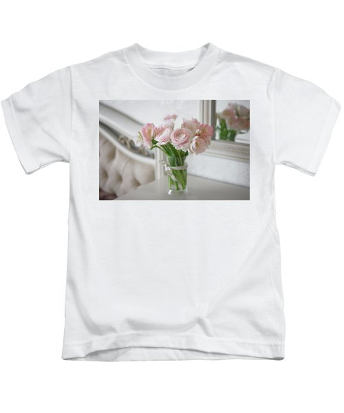 Bouquet Of Delicate Ranunculus And Tulips In Interior Kids T-Shirt