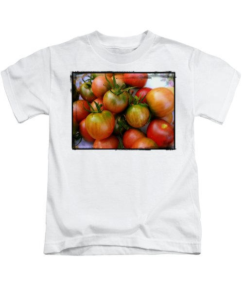 Bowl Of Heirloom Tomatoes Kids T-Shirt by Kathy Barney