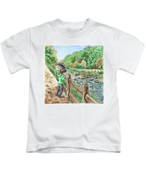 Boy At The Creek Kids T-Shirt
