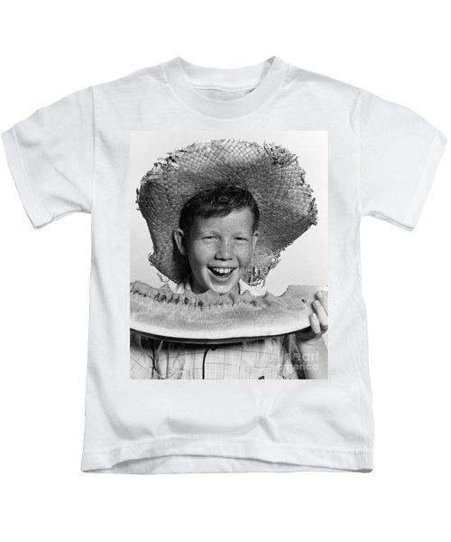 Boy Eating Watermelon, C.1940-50s Kids T-Shirt
