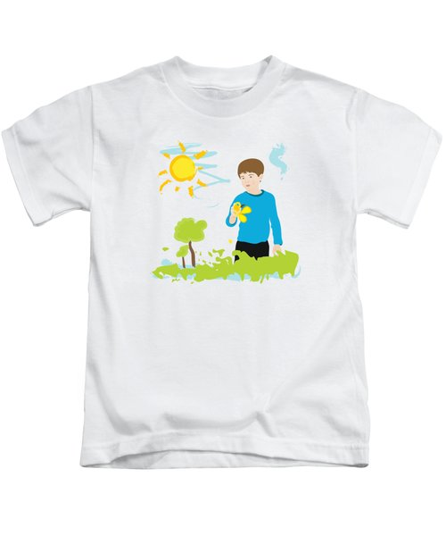 Boy Painting Summer Scene Kids T-Shirt by Serena King