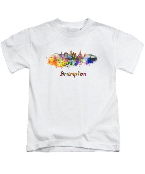 Brampton Skyline In Watercolor Kids T-Shirt