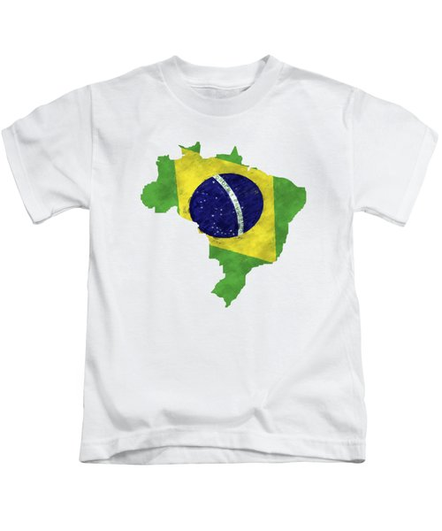 Brazil Map Art With Flag Design Kids T-Shirt by World Art Prints And Designs