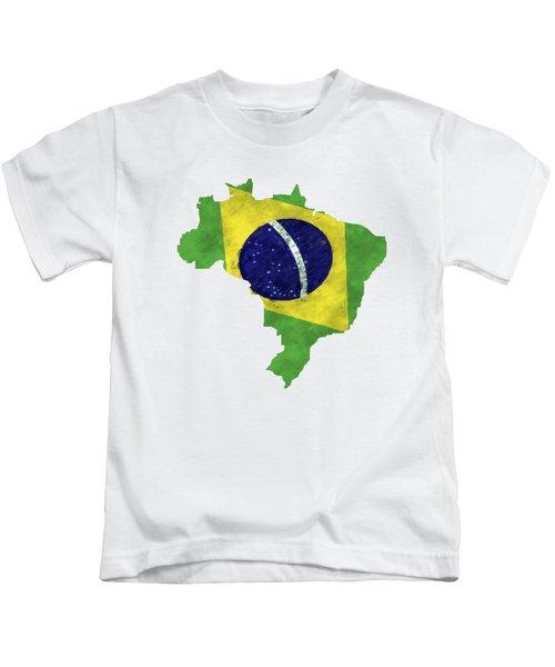 Brazil Map Art With Flag Design Kids T-Shirt