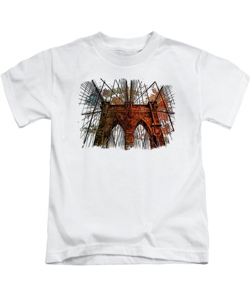 Brooklyn Bridge Earthy Rainbow 3 Dimensional Kids T-Shirt by Di Designs