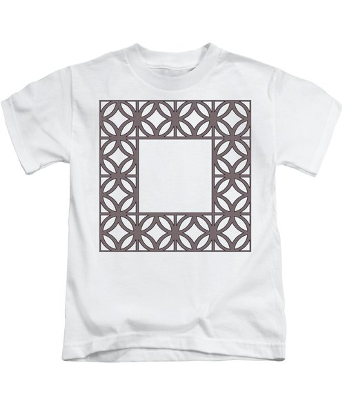 Brown Circles And Squares Kids T-Shirt
