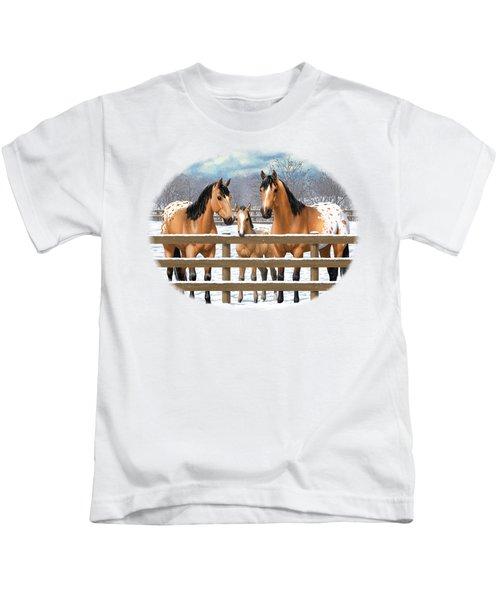 Buckskin Appaloosa Horses In Snow Kids T-Shirt