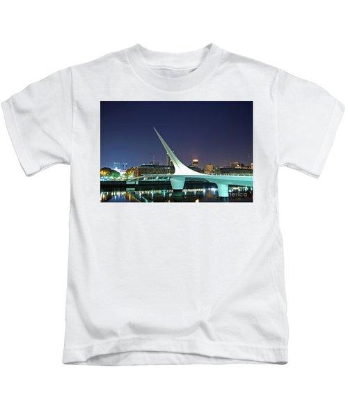 Buenos Aires - Argentina - Puente De La Mujer At Night Kids T-Shirt