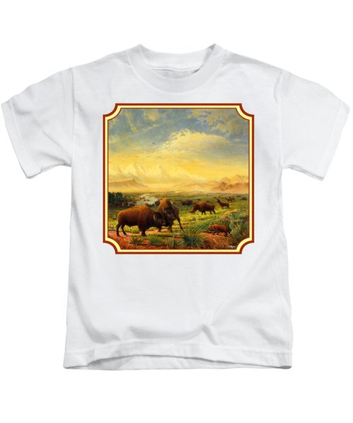 Buffalo Fox Great Plains Western Landscape Oil Painting - Bison - Americana - Square Format Kids T-Shirt by Walt Curlee