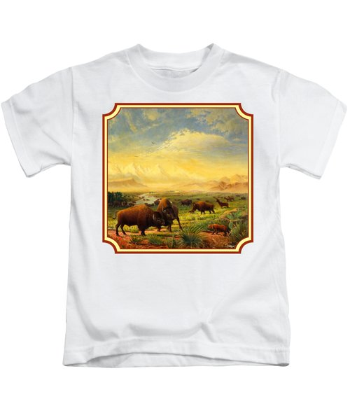 Buffalo Fox Great Plains Western Landscape Oil Painting - Bison - Americana - Square Format Kids T-Shirt