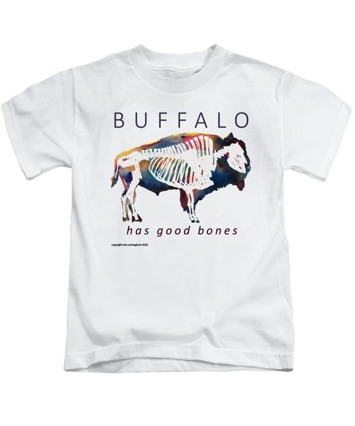 Buffalo Has Good Bones Kids T-Shirt by Marybeth Cunningham