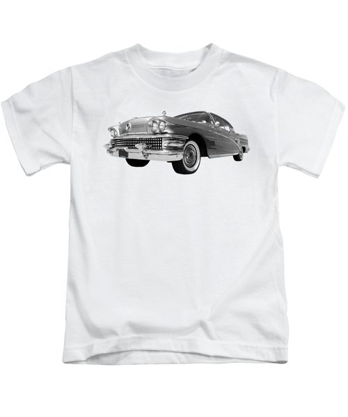 Buick Roadmaster 75 In Black And White Kids T-Shirt