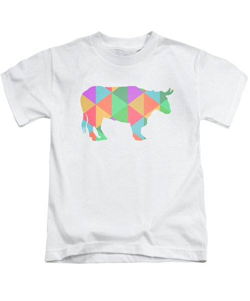 Bull Cow Triangles Kids T-Shirt by Edward Fielding