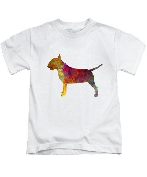 Bull Terrier In Watercolor Kids T-Shirt by Pablo Romero