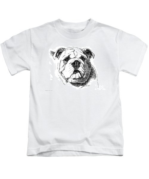 Bulldog-portrait-drawing Kids T-Shirt