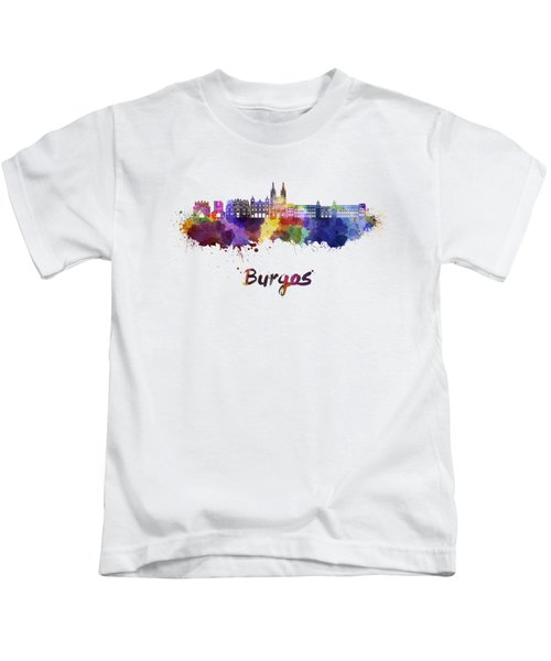 Burgos Skyline In Watercolor Kids T-Shirt