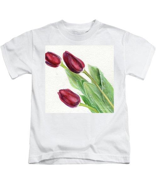 Burgundy Tulips Kids T-Shirt