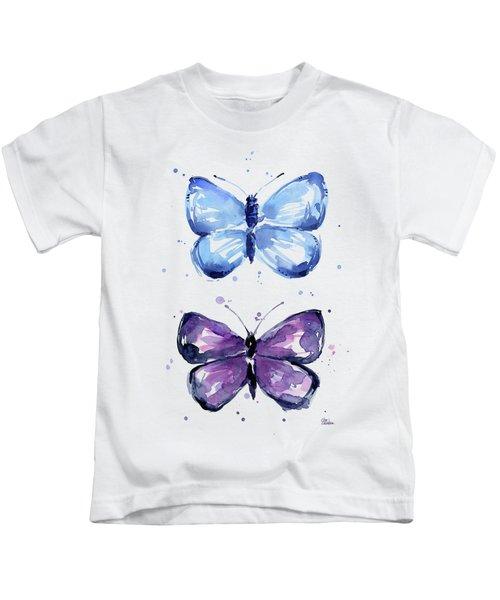 Butterflies Blue And Purple  Kids T-Shirt