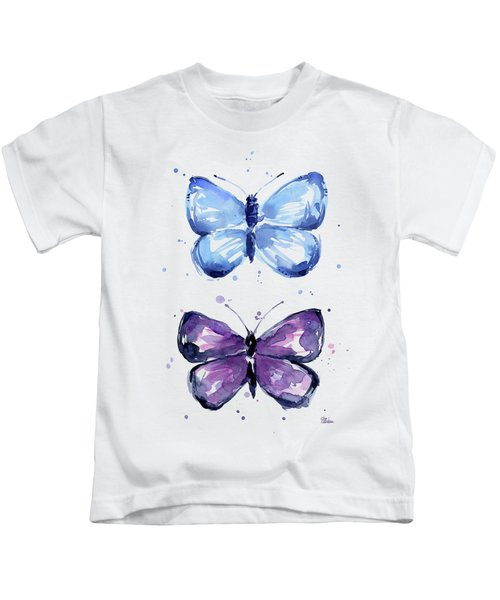 Butterflies Blue And Purple  Kids T-Shirt