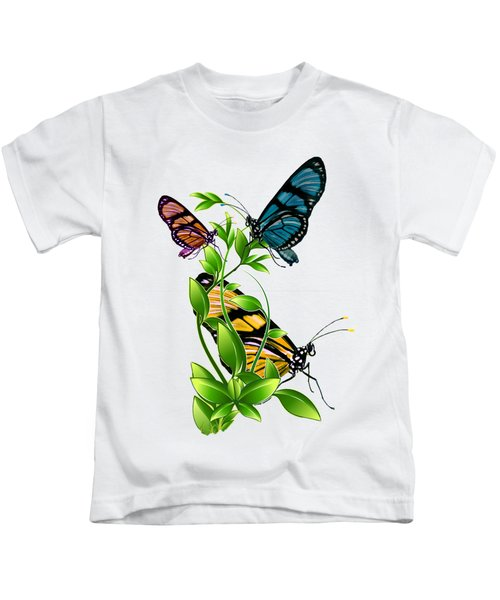 Butterflies On Leaves Kids T-Shirt