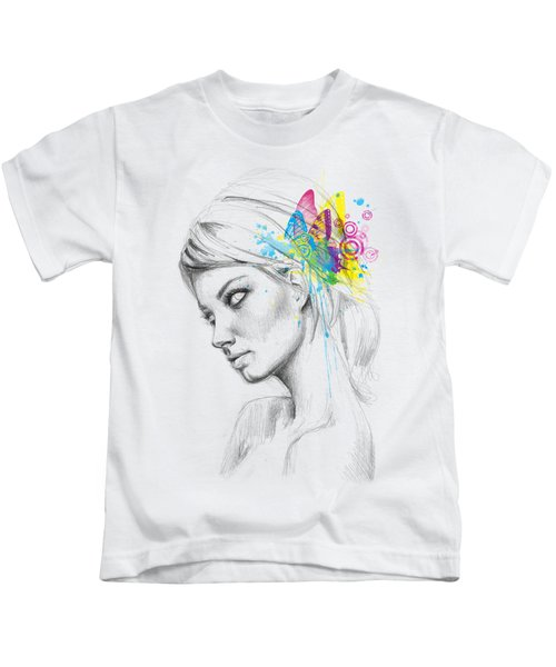 Butterfly Queen Kids T-Shirt by Olga Shvartsur