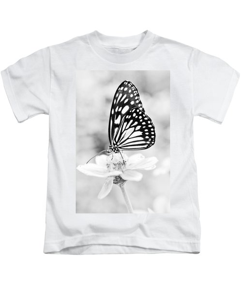 Butterfly Wings 7 - Black And White Kids T-Shirt