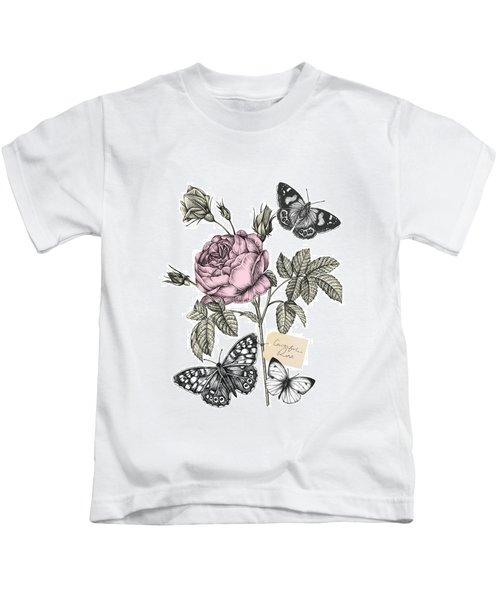 Cabbage Rose Kids T-Shirt by Stephanie Davies