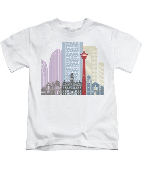 Calgary Skyline Poster Kids T-Shirt