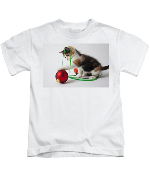 Calico Kitten And Christmas Ornaments Kids T-Shirt