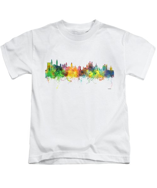 Cambridge England Skyline Kids T-Shirt by Marlene Watson