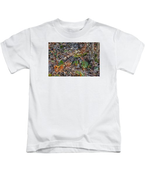 Camouflaged Plumage With Fallen Leaves Kids T-Shirt by Asbed Iskedjian