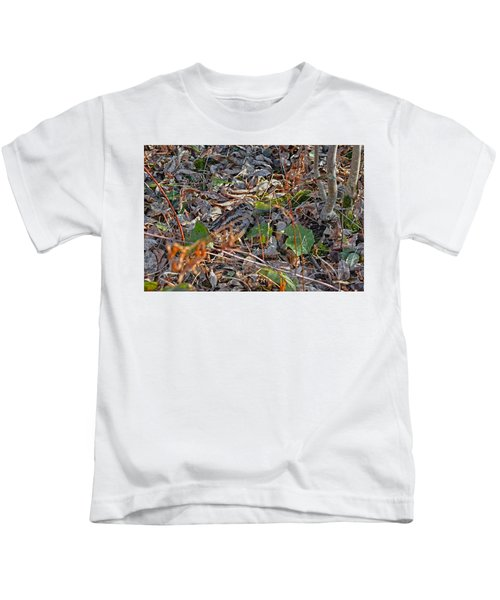 Camouflaged Plumage With Fallen Leaves Kids T-Shirt