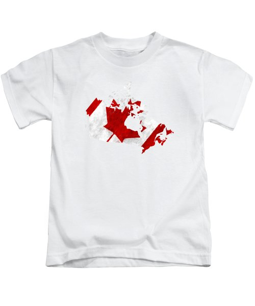Canada Map Art With Flag Design Kids T-Shirt