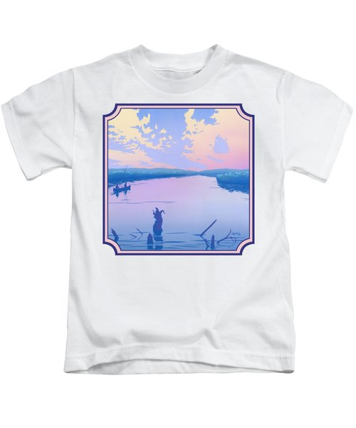 Canoeing The River Back To Camp At Sunset Landscape Abstract - Square Format Kids T-Shirt