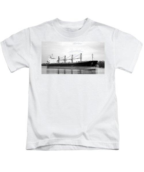 Cargo Ship On River Kids T-Shirt